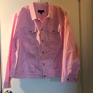 Talbots 3X(22/24W) Pink/White Gingham Jean Jacket